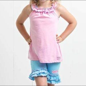Ruffle Girl Matching Sets - Ruffle Girl Light Pink/Blue Ruffle Neck Short Set